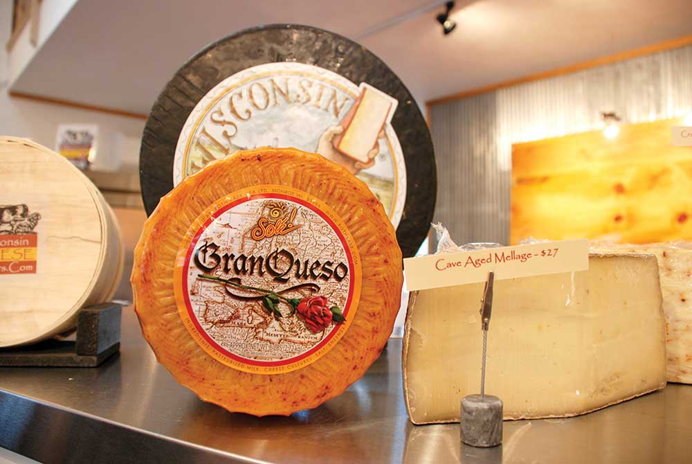 Handmade cheeses on display at Wisconsin Cheese Masters in Egg Harbor.