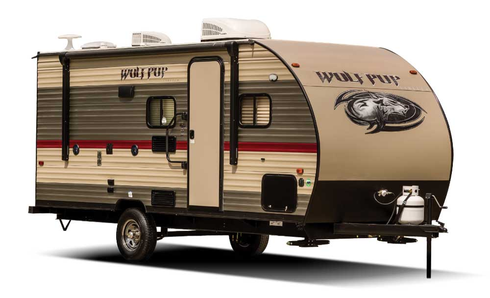 Brown, tan and red designed Forest River Cherokee Wolf Pup travel trailer