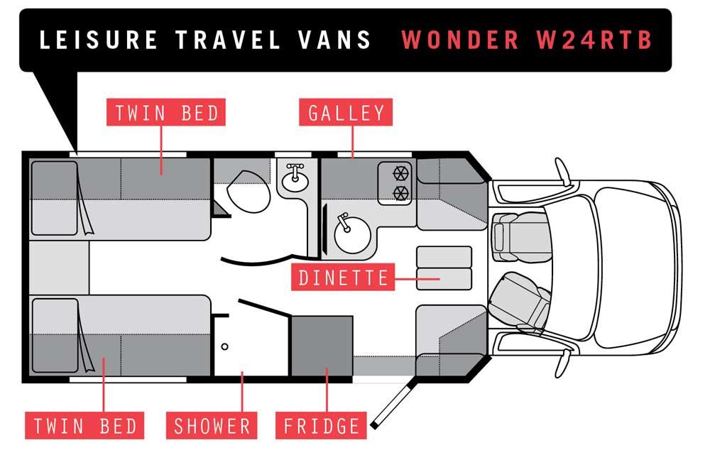 Leisure Travel Vans Wonder W24RTB Floorplan
