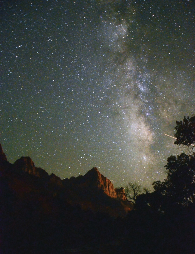 On a clear night, head outside and look up at the stars to see views that rival the famous Zion daytime scenery.