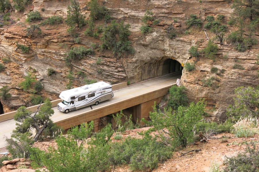 Motorhomes taller than 11 feet 3 inches and wider than 7 feet 9 inches will need a $15 permit to travel through the Zion-Mount Carmel Highway tunnel, and can only drive this section of roadway during limited hours. Vehicles taller than 13 feet 1 inch are not permitted in the tunnel.