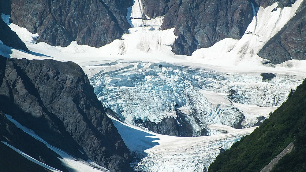 The toe of Exit Glacier can be reached by a moderately strenuous trail.