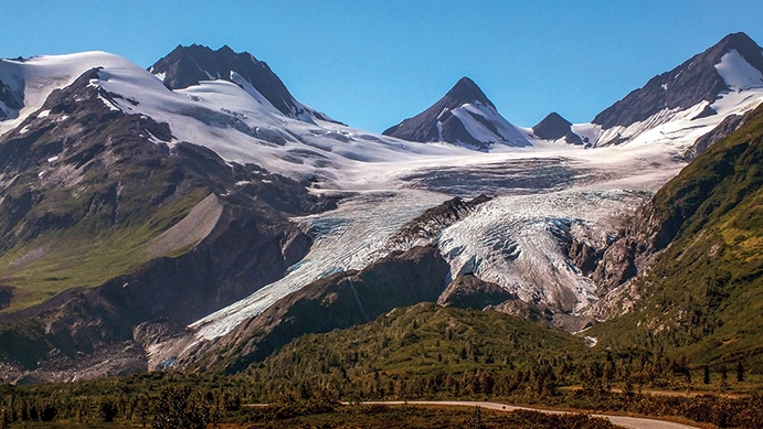 Worthington Glacier, one of the most accessible of all glaciers in Alaska, is 28 miles north of Valdez.