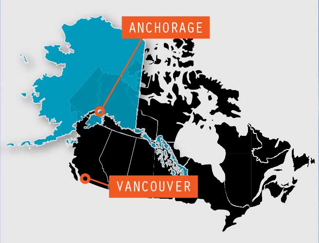 Route map Vancouver to Anchorage