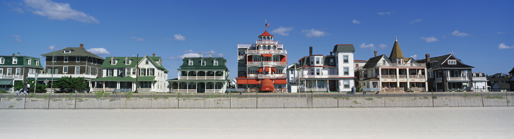 Along Beach Avenue in Cape May, wraparound porches and gingerbread flourishes adorn the Victorian-era dwellings, now mostly bed-and-breakfast inns.