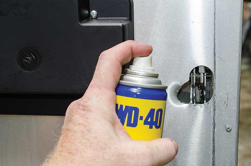 motorhome cargo door lubrication