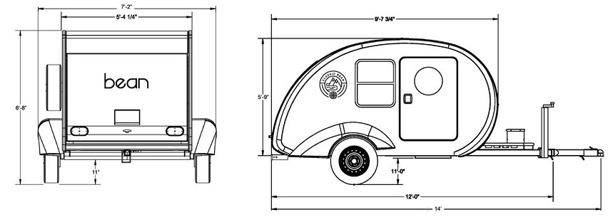 Schematic drawings showing exterior dimensions of Classic Bean trailer