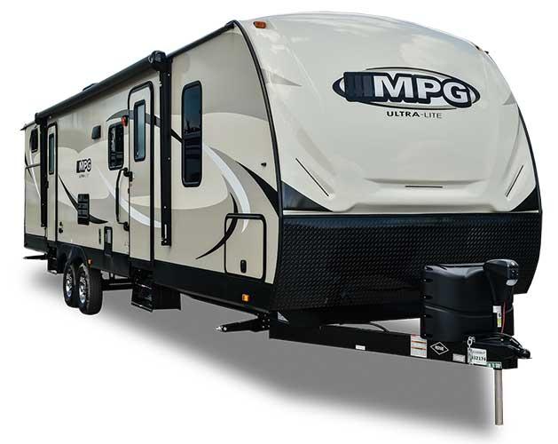 Beige, brown and white Cruiser RV MPG fifth wheel