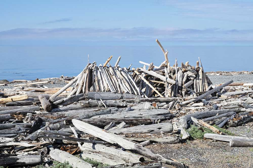 On South Beach in American Camp National Historical Park on San Juan Island, a swath of driftwood provides a makeshift shelter on the beach.