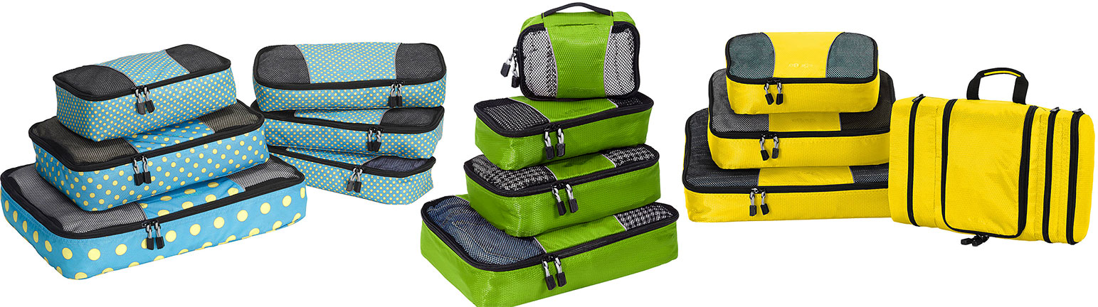 eBags luggage in blue, green and yellow.