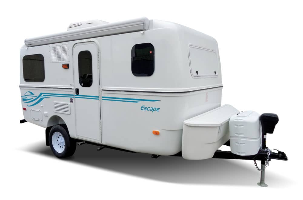 White with blue stripping detail Escape Trailer