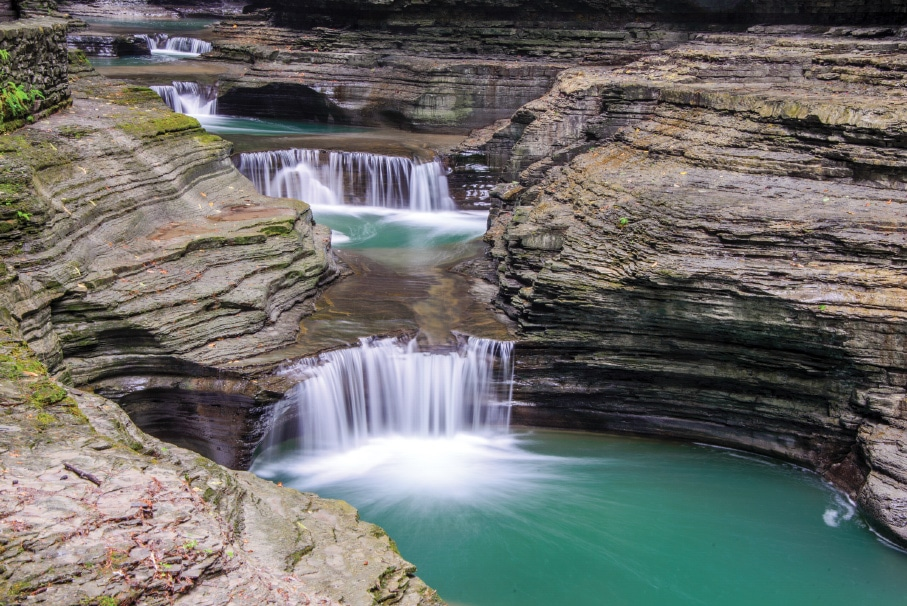 At Watkins Glen State Park, the Gorge Trail follows Glen Creek and takes visitors past many breathtaking waterfalls.