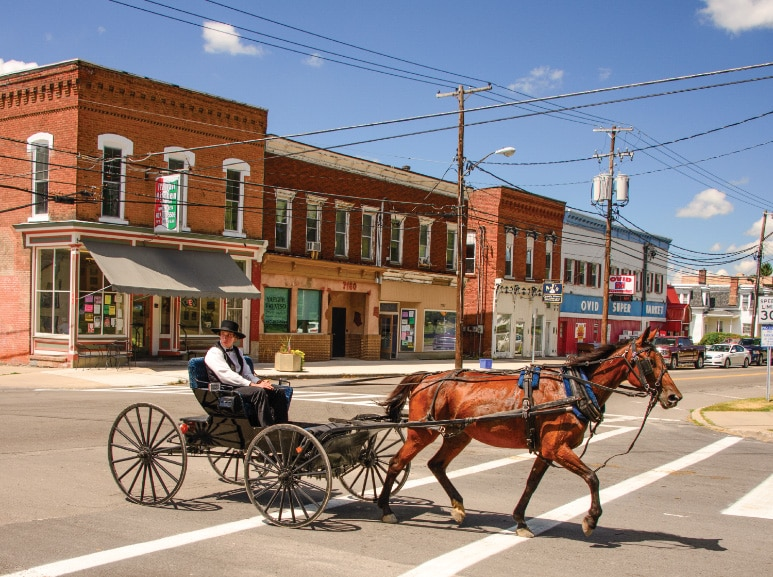 A steady stream of Amish horses and buggies clip-clop down the streets as farmers go about their daily business in the small town of Ovid.