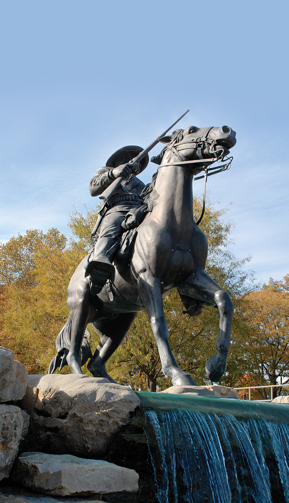 The famed statue of the Buffalo Soldier Monument at Fort Leavenworth.