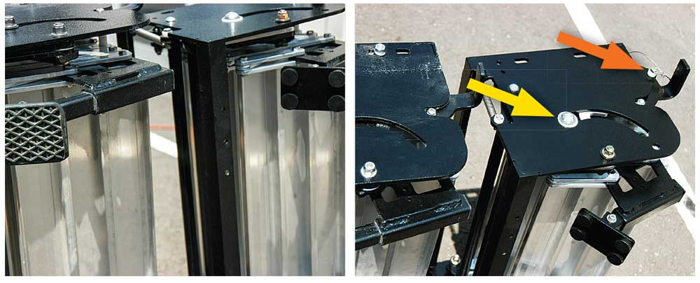 (Right) Upgraded proprietary All Terrain Landing Gear can be adjusted individually in five possible positions. (Far right) A larger nylon bushing (yellow arrow) increases stability and allows for smoother operation. A supplied bail pin (orange arrow) can now be used to secure the mechanism.