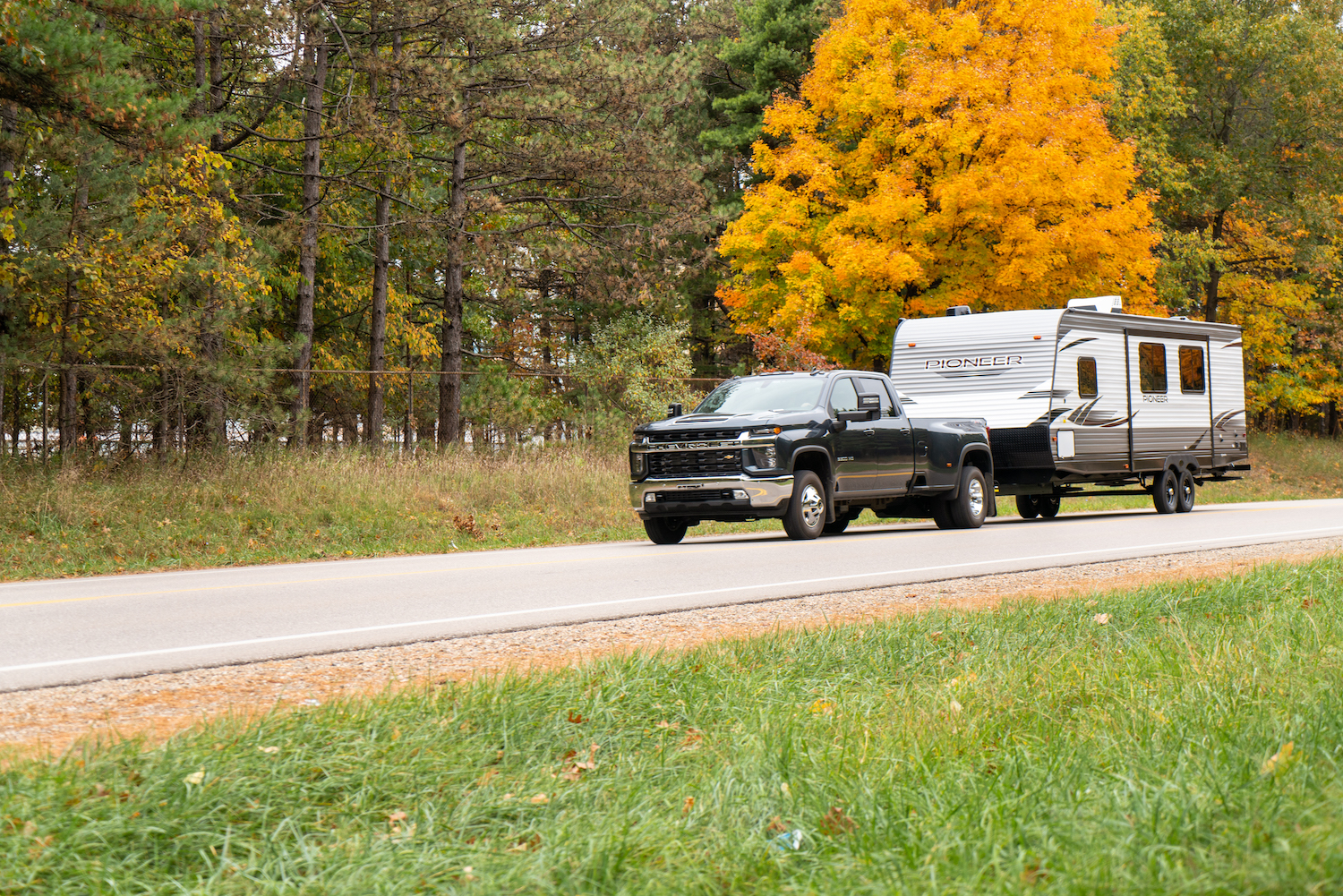 Chevy truck towing a travel trailer