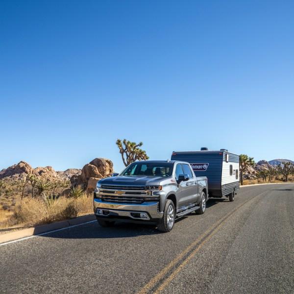 A truck pulling a trailer