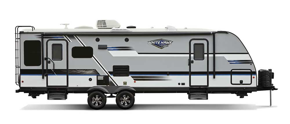 White and black designed fifth wheel RV with ladder on back