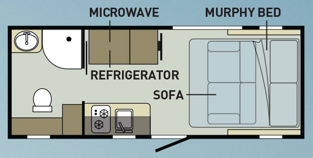 RV layout showing microwave and sofa
