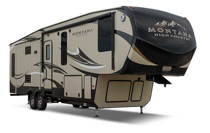 Montana High Country brown and tan fifth wheel RV