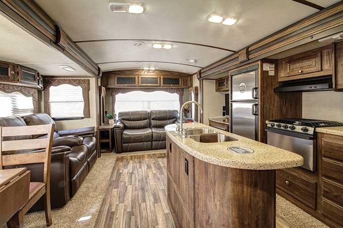 RV living area with nice kitchen area and couches