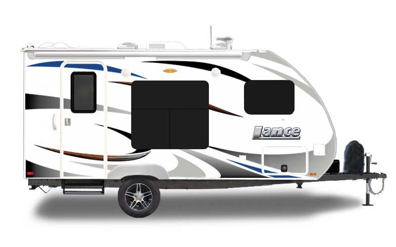 White and grey designed Lance 1475 travel trailer