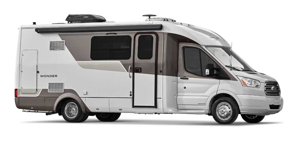 White and brown Leisure Travel Vans Wonder Front Twin Bed