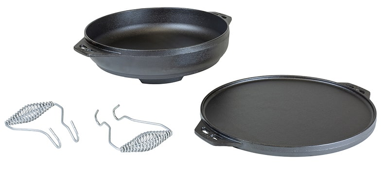 Four piece Lodge cast-iron Cook-It-All including handles.