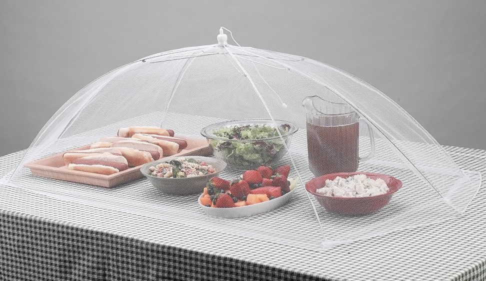 White mesh food cover over hot dogs, salad and ice tea
