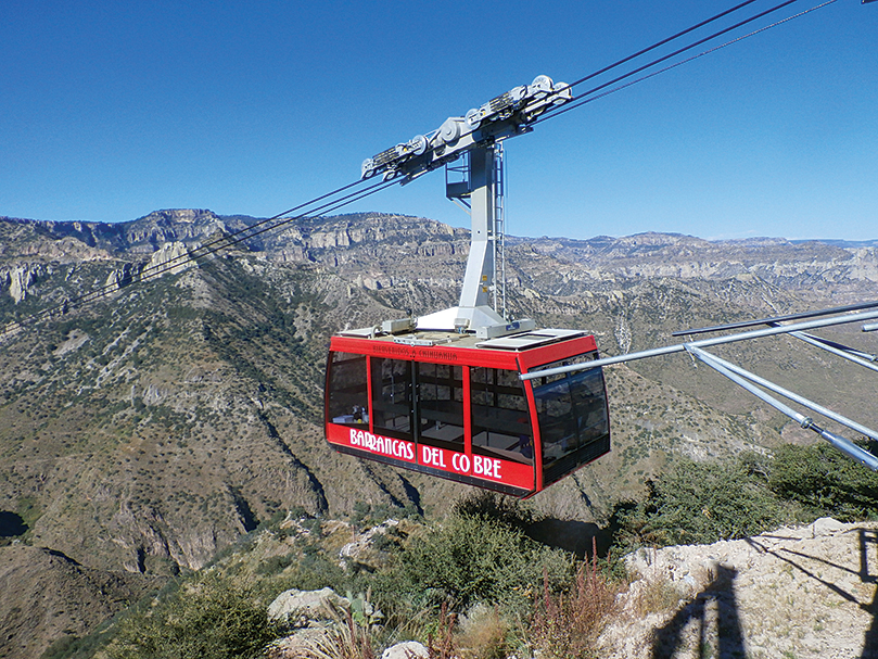 In the northern state of Chihuahua, an aerial tram descends into Copper Canyon, four times larger than the Grand Canyon.