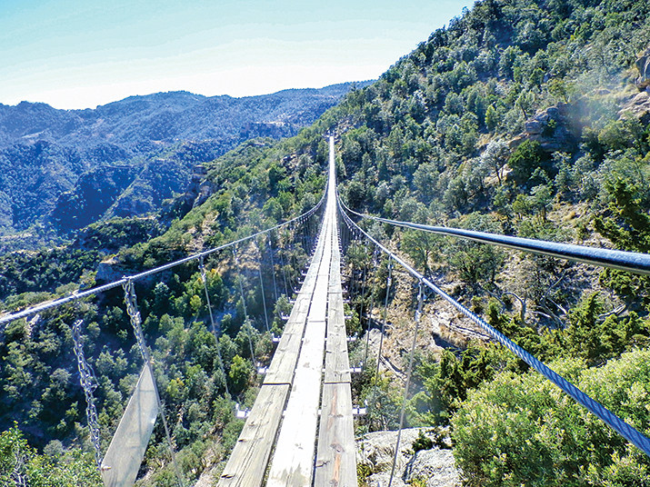 For a thrilling crossing of Copper Canyon, the swinging bridge at the Divisadero lookout spans the chasm and the Urique River below.