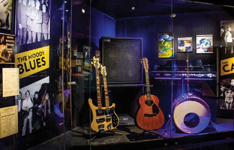 Guitars and other memorabilia from The Moody Blues are on display at the Rock & Roll Hall of Fame.