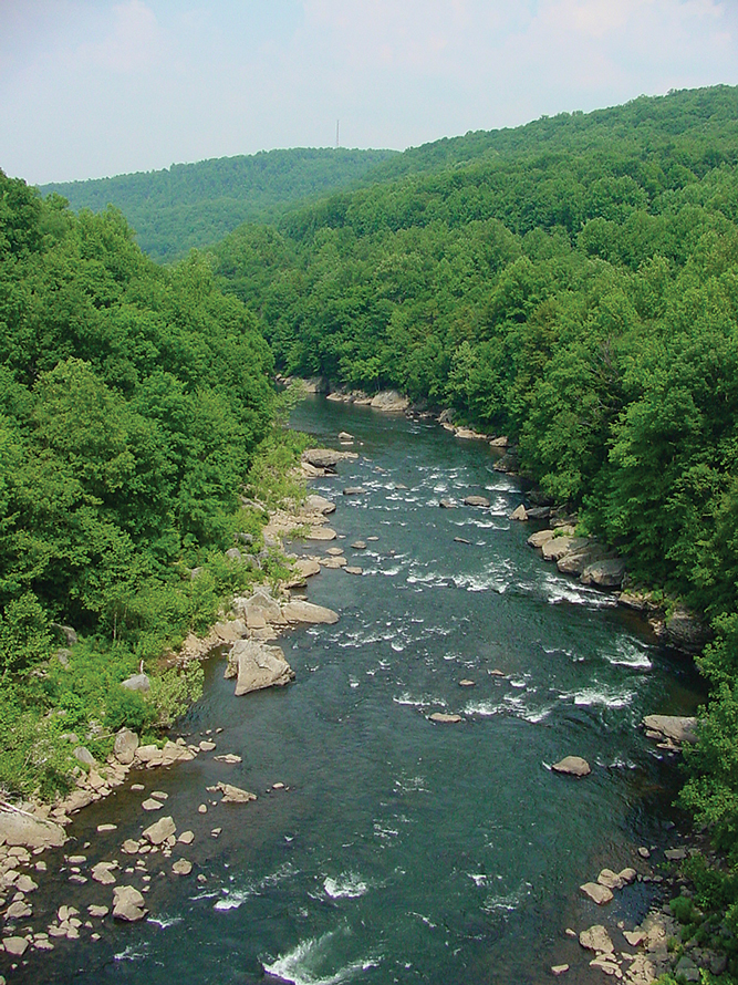 The Cheat River meanders 73 miles through West Virginia and Pennsylvania.
