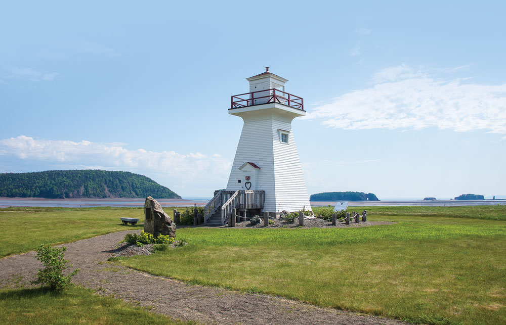 Climb Five Islands Lighthouse for panoramic views of the Bay of Fundy, Minas Basin and the quintet of islands created by the mythical Glooscap.