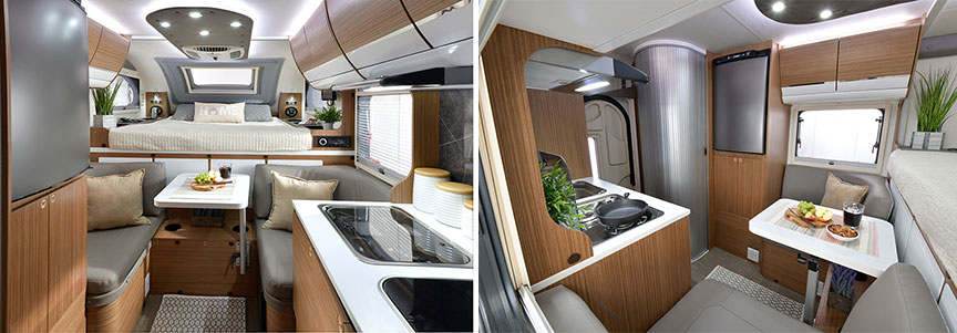 Two interior shots of Cirrus camper showing front to back