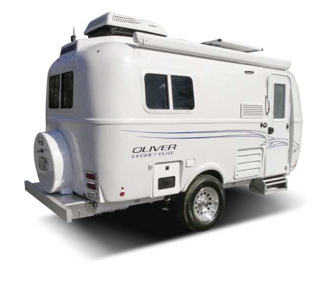 Small white Oliver Legacy Elite travel trailer