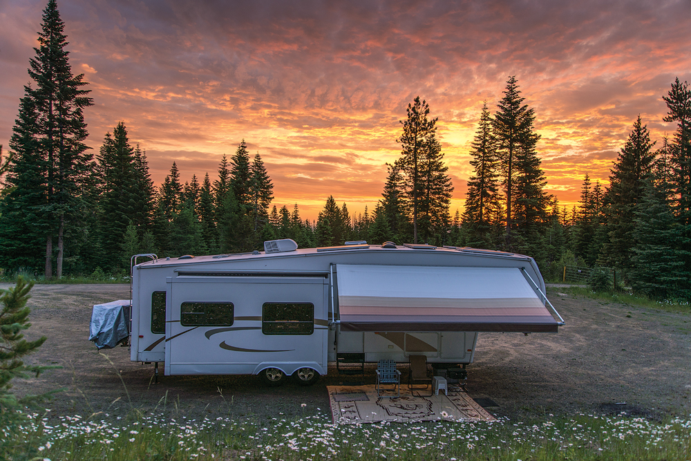 The end of another spectacular day at a tranquil campsite in northeastern Oregon.