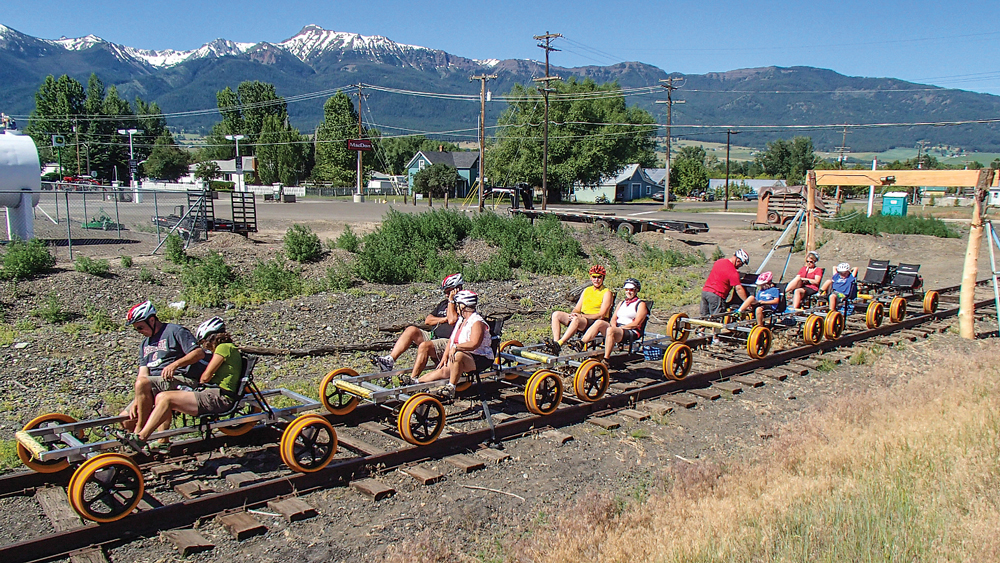 For a fun excursion on unused railroad tracks, join the Joseph Branch Railriders tour.