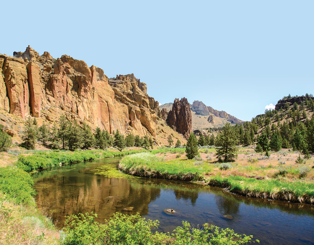 The Crooked River winds through Smith Rock State Park near Bend, Oregon.