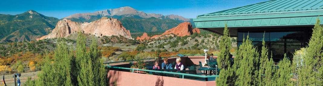 Take in 360-degree breathtaking views of 300-foot sandstone rock formations from the terrace at Garden of the Gods Visitor and Nature Center.