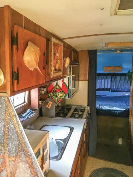 Richard Ratte gave his 1968 Travco 27-footer a nautical-themed interior.
