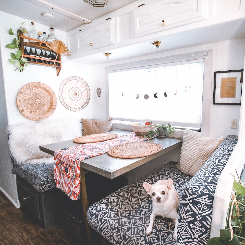 Re-covered RV dinette cushions