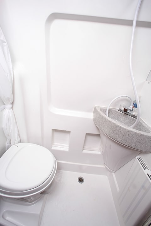 Bathroom is a tight squeeze but has all the essentials.
