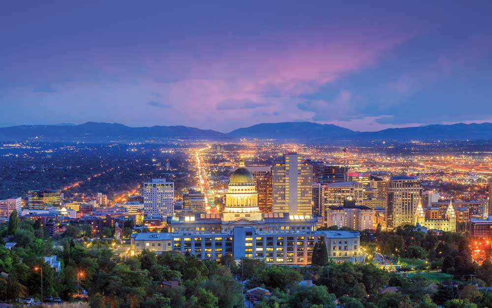 Salt Lake City at night with the capito hill comples in the foreground