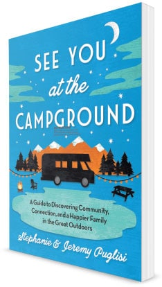 """Blue """"See You at the Campground"""" book cover with an RV graphic."""