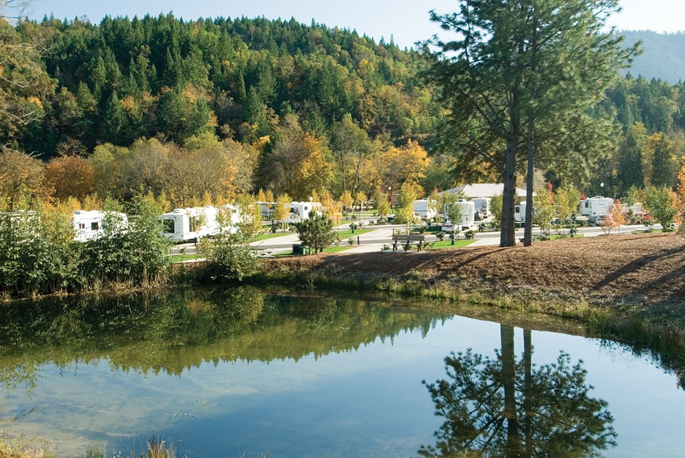 The solitude of Seven Feathers RV park, set among scenic pines and Douglas firs, is a pleasant contrast to the hustle and bustle of the casino.