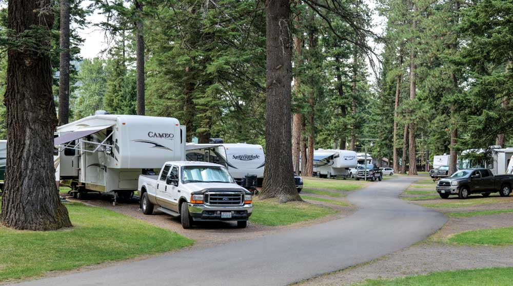 Parking under the pines is just one benefit of full-timing.