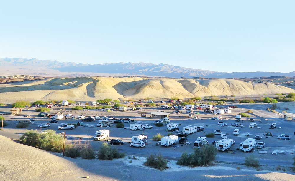 One of eight RV campgrounds run by the National Park Service in Death Valley, Texas Springs is open from mid-October through May with 92 first-come, first-served sites.