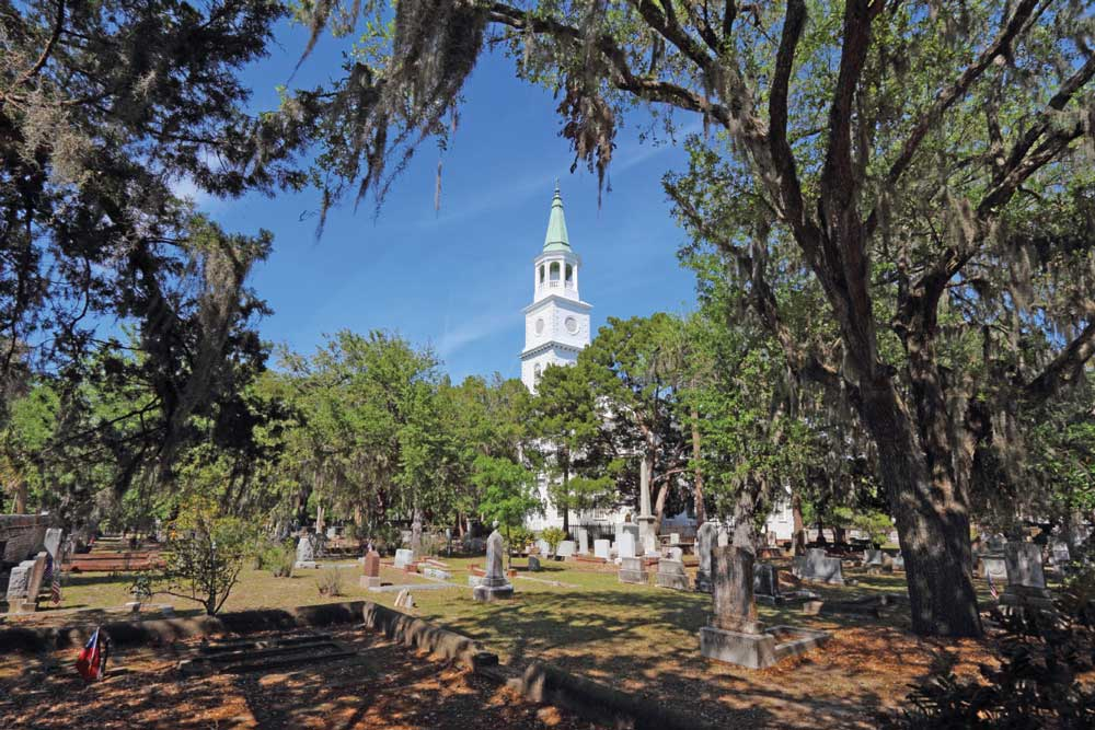 The Parish Church of St. Helena was established in 1712 as a colonial parish of the Church of England, and today is one of the oldest churches in the U.S. The original church was built on the present site in 1724. The church appears now as it did in 1842, after its final enlargement.