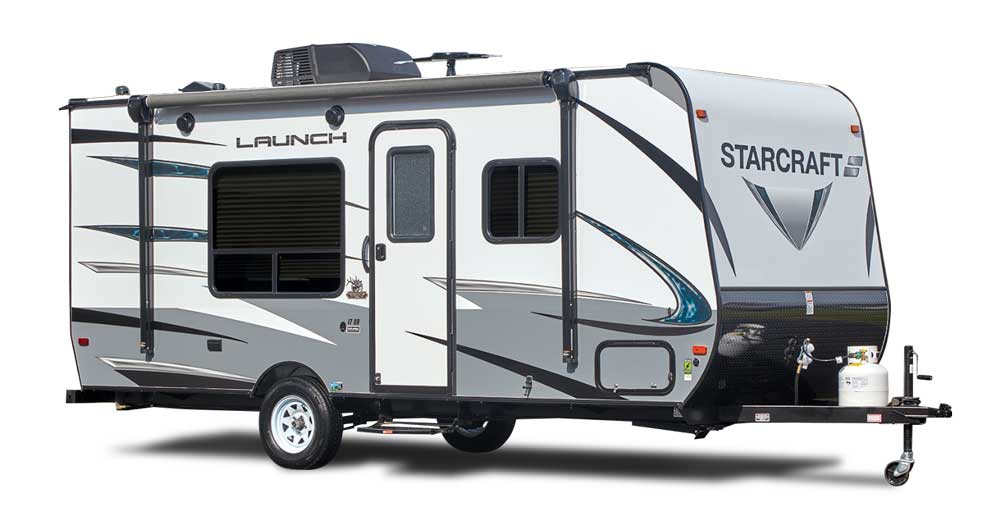White and grey designed Starcraft Launch Outfitter 7 travel trailer